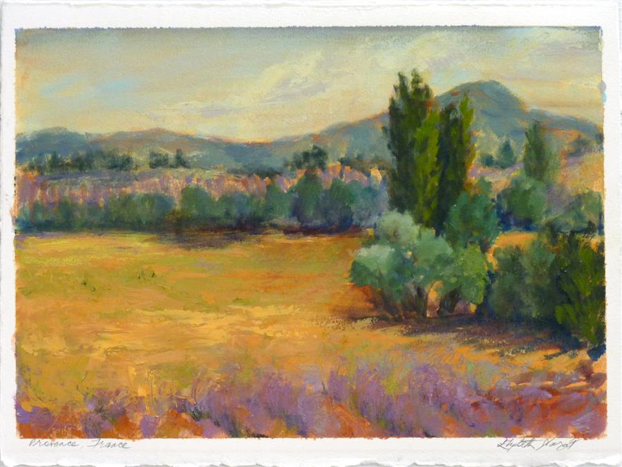 Original art for sale at UGallery.com | Poplars and Lavender in Provence No. 1 by Elizabeth Garat | $575 | oil painting | 15' h x 11' w | ..\art\oil-painting-Poplars-and-Lavender-in-Provence-No-1