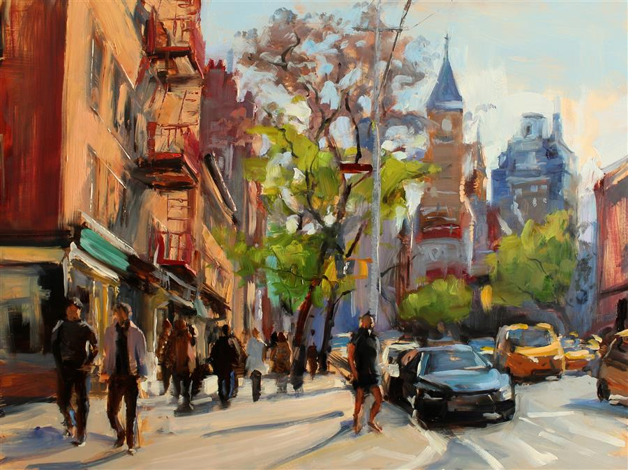 Original art for sale at UGallery.com | Sunny Day in Manhattan by JONELLE SUMMERFIELD | $750 |  | 12' h x 16' w | ..\art\oil-painting-Sunny-Day-in-Manhattan