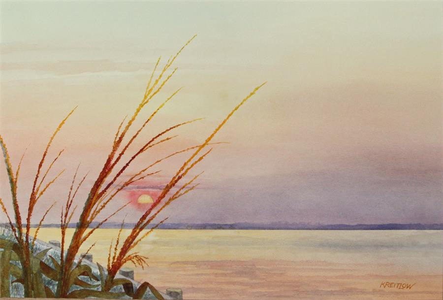 Original art for sale at UGallery.com | Sunset at 32nd Street by BILL KREITLOW | $800 |  | 16.25' h x 24.25' w | ..\art\watercolor-painting-Sunset-at-32nd-Street