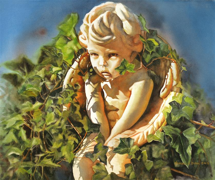 Original art for sale at UGallery.com | Angel in the Ivy by KATHLEEN  GILES | $2,175 |  | 20' h x 25' w | ..\art\watercolor-painting-Angel-in-the-Ivy