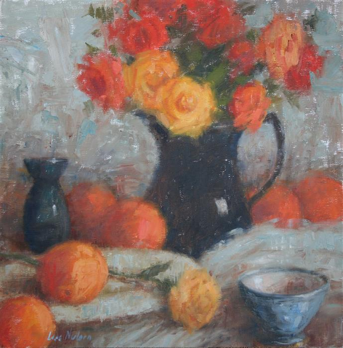 Original art for sale at UGallery.com | Citrus And Tea Roses by LISA NIELSEN | $475 |  | 12' h x 12' w | ..\art\oil-painting-Citrus-And-Tea-Roses