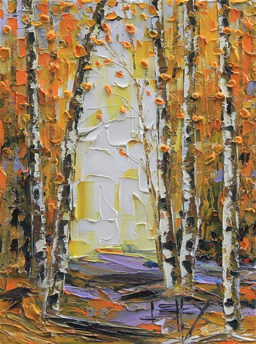 Original art for sale at UGallery.com | Fall in to Autumn by Lisa Elley | $300 | oil painting | 12' h x 9' w | ..\art\oil-painting-Fall-in-to-Autumn