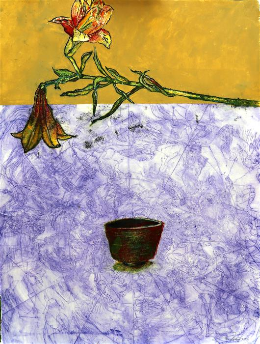 Original art for sale at UGallery.com | Flower and Bowl by JAMES REES | $1,150 |  | 30' h x 22' w | ..\art\printmaking-Flower-and-Bowl