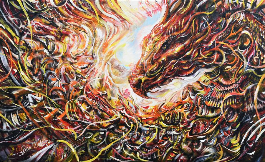 Original art for sale at UGallery.com | Dragon by PIERO MANRIQUE | $5,550 |  | 36' h x 60' w | ..\art\acrylic-painting-Dragon-55279