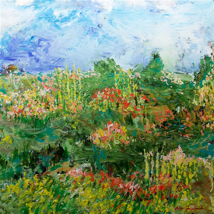 Original art for sale at UGallery.com | Garden of Delight by ALLAN P. FRIEDLANDER | $2,750 |  | 36' h x 36' w | ..\art\acrylic-painting-Garden-of-Delight