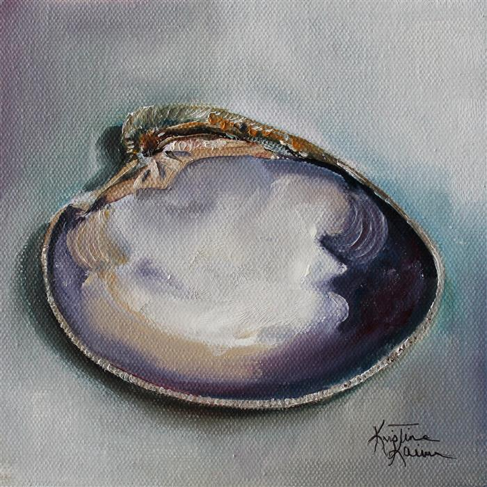 Original art for sale at UGallery.com | Cherrystone Clam  by Kristine Kainer | $325 | oil painting | 6' h x 6' w | ..\art\oil-painting-Cherrystone-Clam