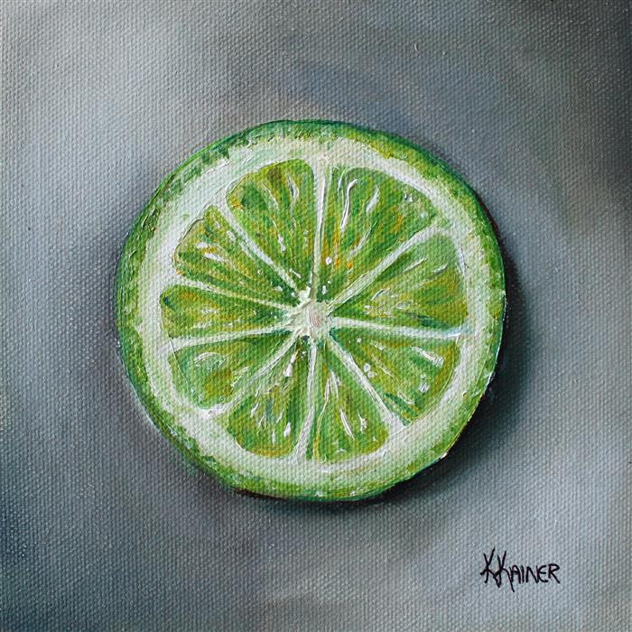 Original art for sale at UGallery.com | Lime Slice by KRISTINE KAINER | $300 |  | 6' h x 6' w | ..\art\oil-painting-Lime-Slice