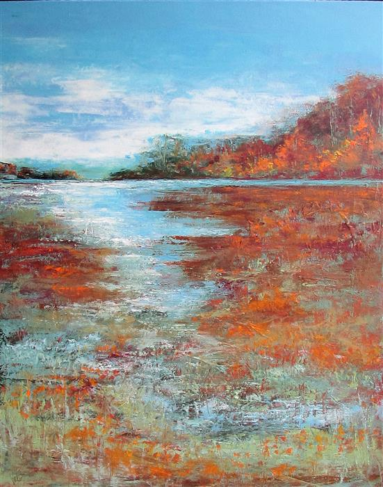 Original art for sale at UGallery.com | Autumn Opus by Valerie Berkely | $975 | oil painting | 30' h x 24' w | ..\art\oil-painting-Autumn-Opus