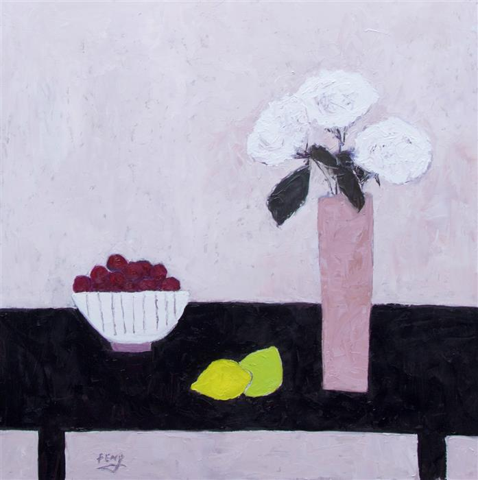 Original art for sale at UGallery.com | Bowl of Cherries by FENG BIDDLE | $1,000 |  | 24' h x 24' w | ..\art\oil-painting-Bowl-of-Cherries