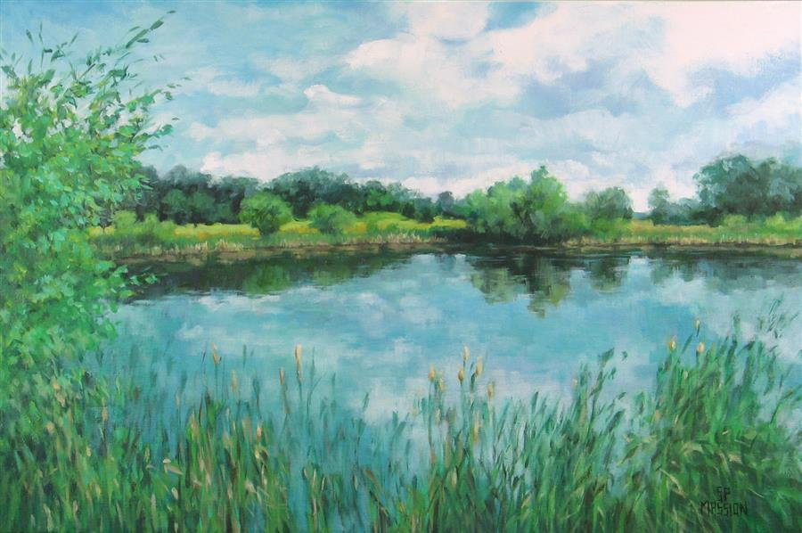 Original art for sale at UGallery.com | Lake In The Reeds by SUZANNE MASSION | $875 |  | 20' h x 30' w | ..\art\oil-painting-Lake-In-The-Reeds