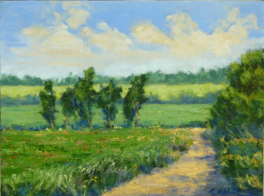 Original art for sale at UGallery.com | Summer Park Sketch No. 2 by ELIZABETH GARAT | $500 |  | 9' h x 12' w | ..\art\oil-painting-Summer-Park-Sketch-No-2