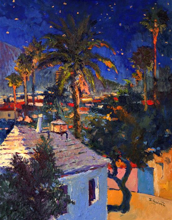 Original art for sale at UGallery.com | Old House and Palm Trees, Midnight by Suren Nersisyan | $1,200 | oil painting | 28' h x 22' w | ..\art\oil-painting-Old-House-and-Palm-Trees-Midnight