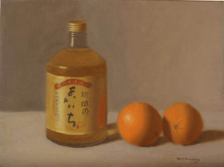 Original art for sale at UGallery.com | Oranges and Japanese Liqour by JOSE H. ALVARENGA | $550 |  | 9' h x 12' w | ..\art\oil-painting-Oranges-and-Japanese-Liqour