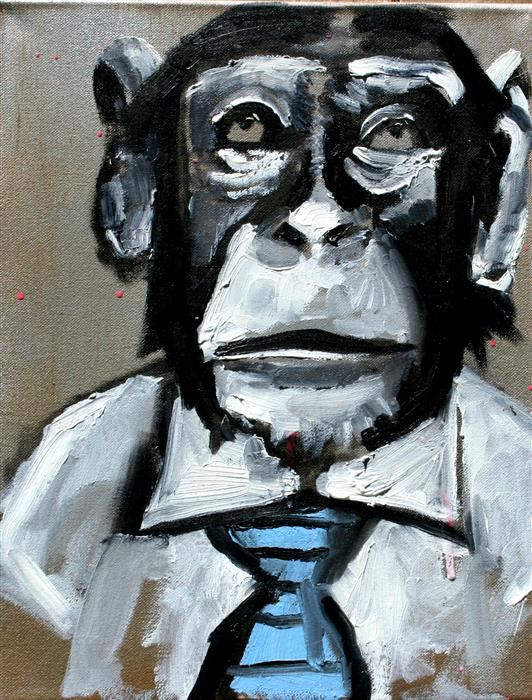 Original art for sale at UGallery.com | White Shirt Blue Tie Chimp by SCOTT DYKEMA | $775 |  | 14' h x 11' w | ..\art\mixed-media-artwork-White-Shirt-Blue-Tie-Chimp