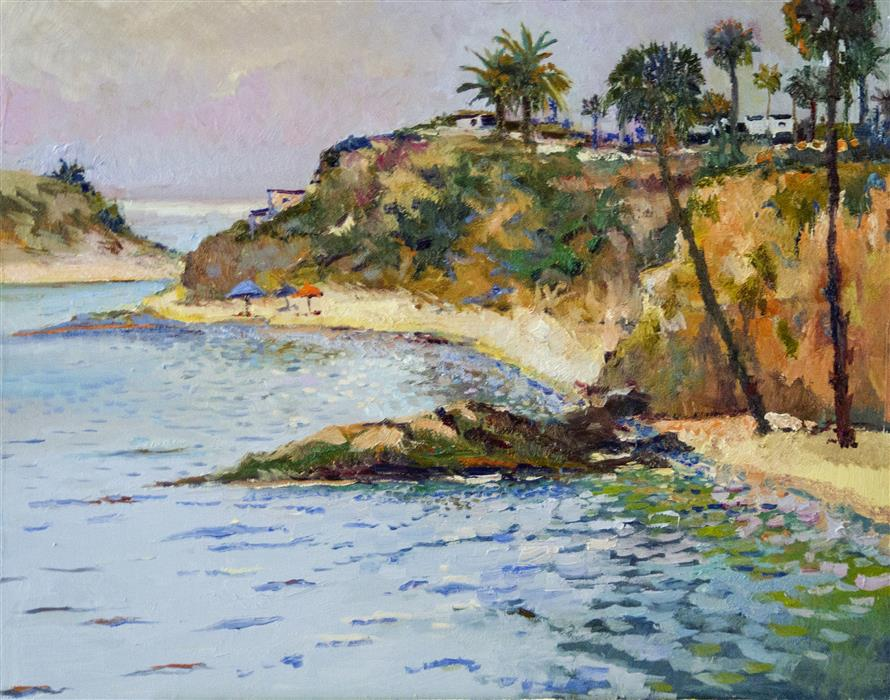 Original art for sale at UGallery.com | Hazy Day on Ocean, Laguna Beach by Suren Nersisyan | $1,100 | oil painting | 22' h x 28' w | ..\art\oil-painting-Hazy-Day-on-Ocean-Laguna-Beach