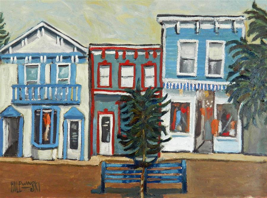 Original art for sale at UGallery.com | Shops Along Washington Street by ROBERT  HOLEWINSKI | $800 |  | 17' h x 23' w | ..\art\oil-painting-Shops-Along-Washington-Street