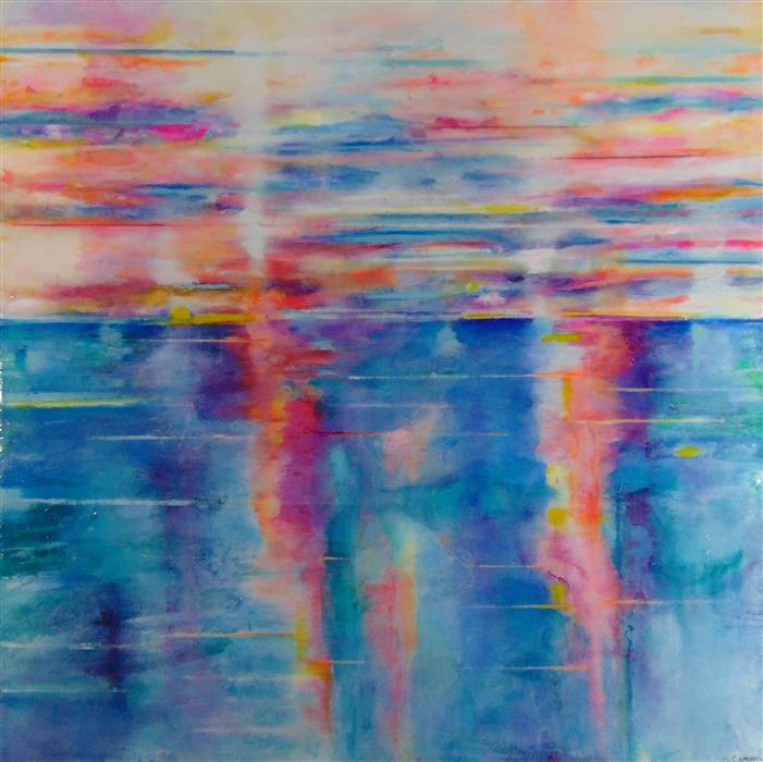 Original art for sale at UGallery.com | Sunset by JILL CONCETTA | $1,800 |  | 36' h x 36' w | ..\art\other-media-Sunset