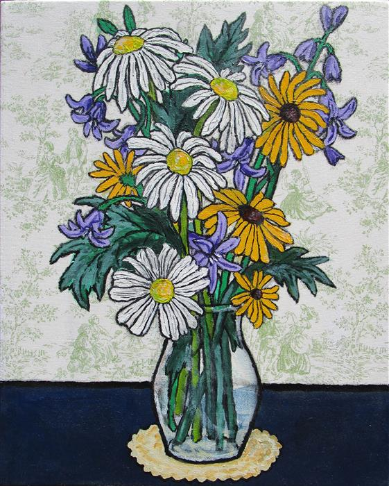 Original art for sale at UGallery.com | Daisies, Black Eyed Susans, and Hosta by GREG ANGELONE | $725 |  | 20' h x 16' w | ..\art\acrylic-painting-Daisies-Black-Eyed-Susans-and-Hosta