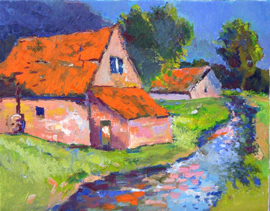 Original art for sale at UGallery.com | Farm Houses with Orange Roofs by SUREN NERSISYAN | $350 |  | 11' h x 14' w | ..\art\oil-painting-Farm-Houses-with-Orange-Roofs