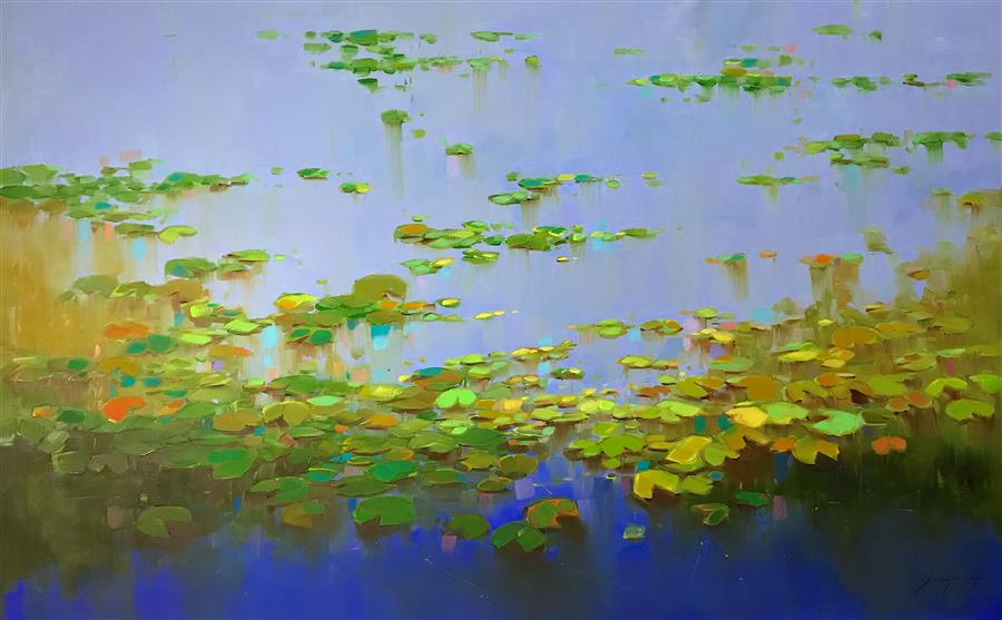 Original art for sale at UGallery.com | Summer Pond by VAHE YEREMYAN | $4,100 |  | 41.5' h x 67' w | ..\art\oil-painting-Summer-Pond-55503