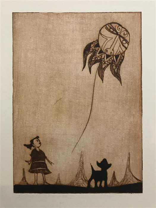 Original art for sale at UGallery.com | Native on a String by DOUG LAWLER | $325 |  | 10' h x 8' w | ..\art\printmaking-Native-on-a-String