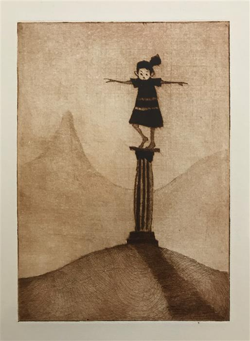 Original art for sale at UGallery.com | On a Pedestal by DOUG LAWLER | $325 |  | 10' h x 8' w | ..\art\printmaking-On-a-Pedestal