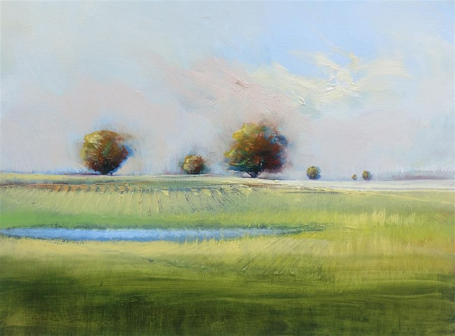 Original art for sale at UGallery.com | Orchard View by GEORGE PEEBLES | $650 |  | 18' h x 24' w | ..\art\oil-painting-Orchard-View