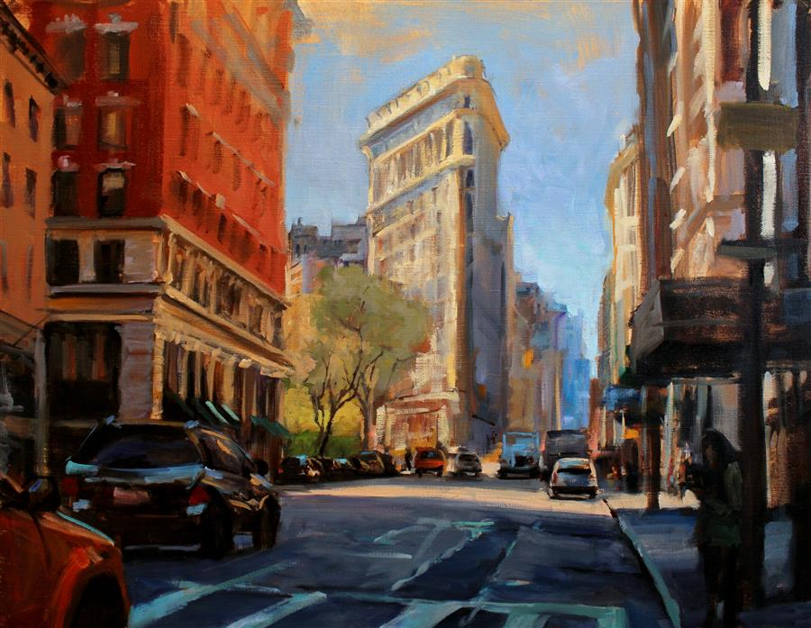Original art for sale at UGallery.com | Flatiron District by JONELLE SUMMERFIELD | $1,600 |  | 22' h x 28' w | ..\art\oil-painting-Flatiron-District