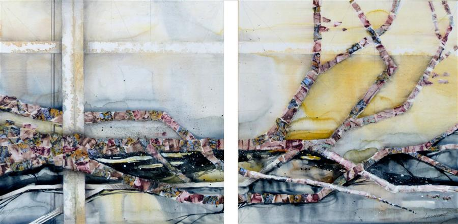 Original art for sale at UGallery.com | Finite Gestures by LINDA KLEIN | $800 |  | 14' h x 30' w | ..\art\mixed-media-artwork-Finite-Gestures