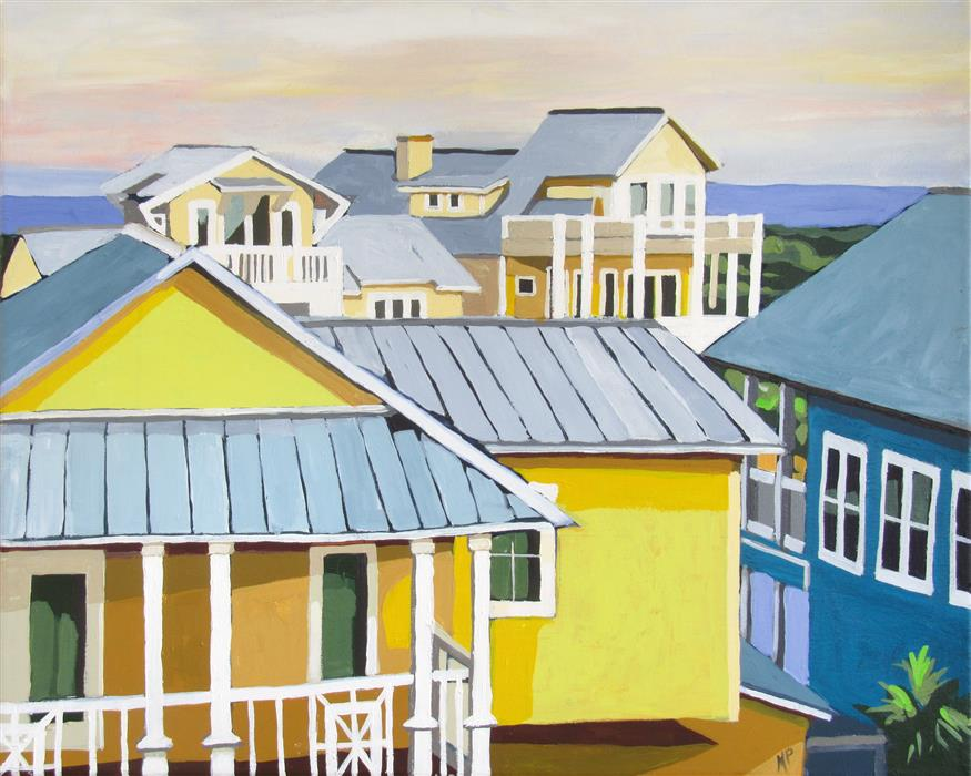 Original art for sale at UGallery.com | Little Boxes by the Shoreline by MELINDA PATRICK | $525 |  | 16' h x 20' w | ..\art\acrylic-painting-Little-Boxes-by-the-Shoreline