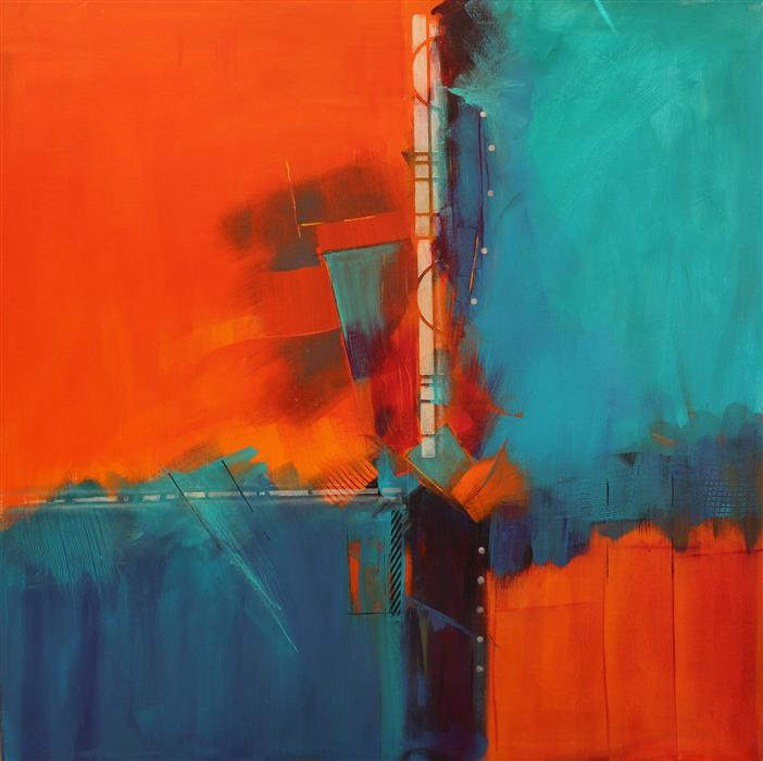 Original art for sale at UGallery.com | Blue Inspiration by NICHOLAS FOSCHI | $3,500 |  | 40' h x 40' w | ..\art\acrylic-painting-Blue-Inspiration