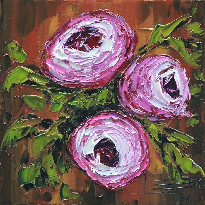 Original art for sale at UGallery.com | Peonies by LISA ELLEY | $300 |  | 10' h x 10' w | ..\art\oil-painting-Peonies-55609