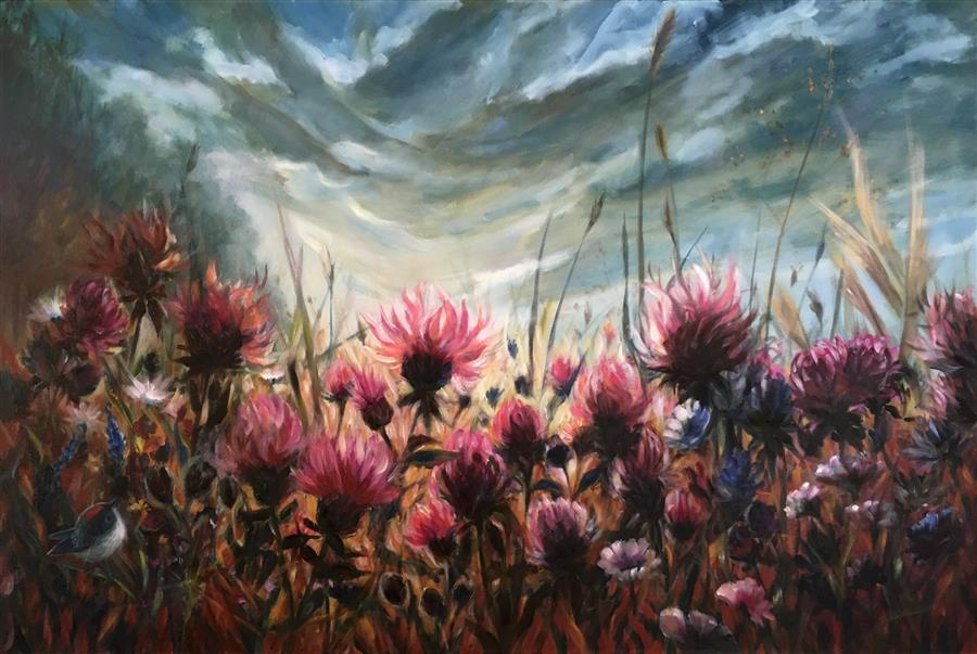 Original art for sale at UGallery.com | Meadow by Pandalana Williams | $1,400 | oil painting | 24' h x 36' w | ..\art\oil-painting-Meadow