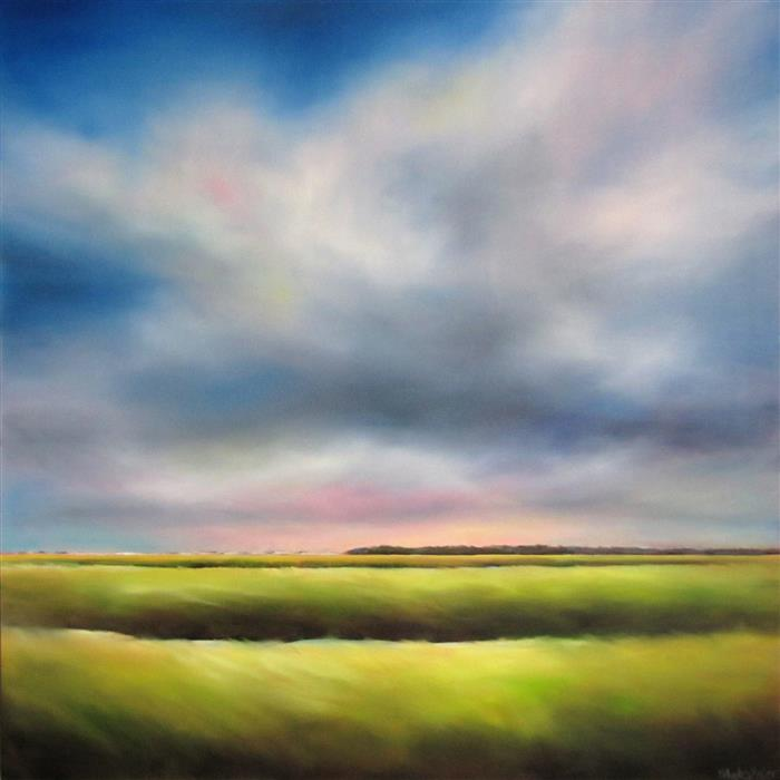 Original art for sale at UGallery.com | Marsh, Partly Cloudy by Nancy Hughes Miller | $2,200 | oil painting | 36' h x 36' w | ..\art\oil-painting-Marsh-Partly-Cloudy