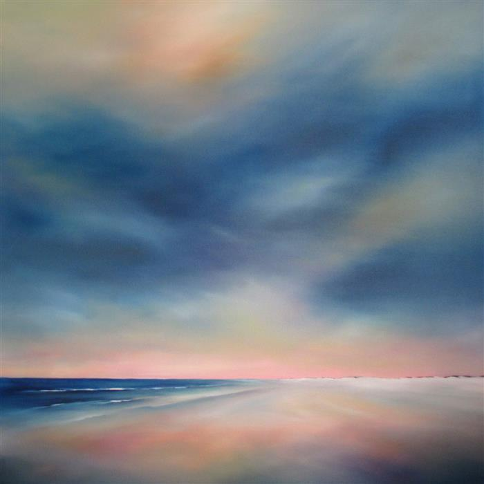 Original art for sale at UGallery.com | Moody Sky Beach by NANCY HUGHES MILLER | $2,200 |  | 36' h x 36' w | ..\art\oil-painting-Moody-Sky-Beach