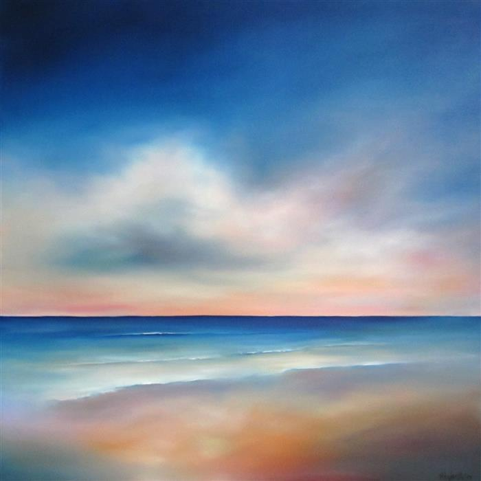 Original art for sale at UGallery.com | Quiet Waves by NANCY HUGHES MILLER | $2,200 |  | 36' h x 36' w | ..\art\oil-painting-Quiet-Waves
