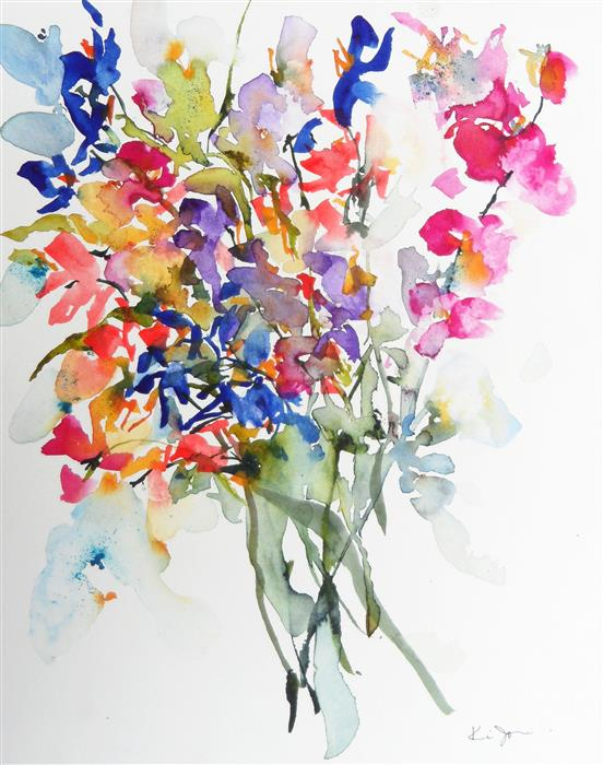 Original art for sale at UGallery.com | Spring Bouquet IX by KARIN JOHANNESSON | $450 |  | 14' h x 11' w | ..\art\watercolor-painting-Spring-Bouquet-IX