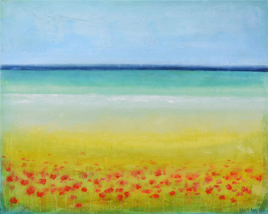 Original art for sale at UGallery.com | Poppies By the Sea II by SALLY ADAMS | $1,275 |  | 24' h x 30' w | ..\art\acrylic-painting-Poppies-By-the-Sea-II
