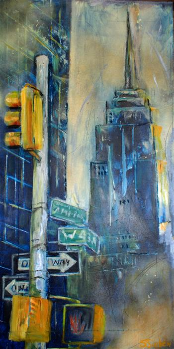 Original art for sale at UGallery.com | Empire State Building by SHARON SIEBEN | $550 |  | 24' h x 12' w | ..\art\mixed-media-artwork-Empire-State-Building