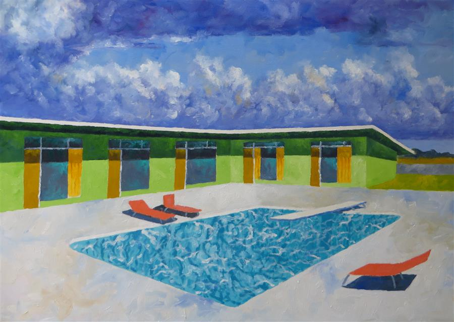 Original art for sale at UGallery.com | Thunderbird Motel by MITCHELL FREIFELD | $1,100 |  | 25' h x 35' w | ..\art\oil-painting-Thunderbird-Motel