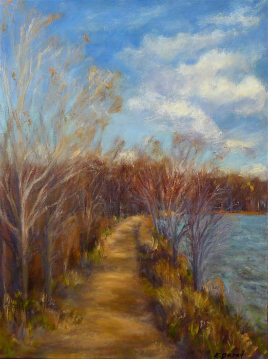 Original art for sale at UGallery.com | Path Beside the Lake by Elizabeth Garat | $1,000 | oil painting | 18' h x 24' w | ..\art\oil-painting-Path-Beside-the-Lake