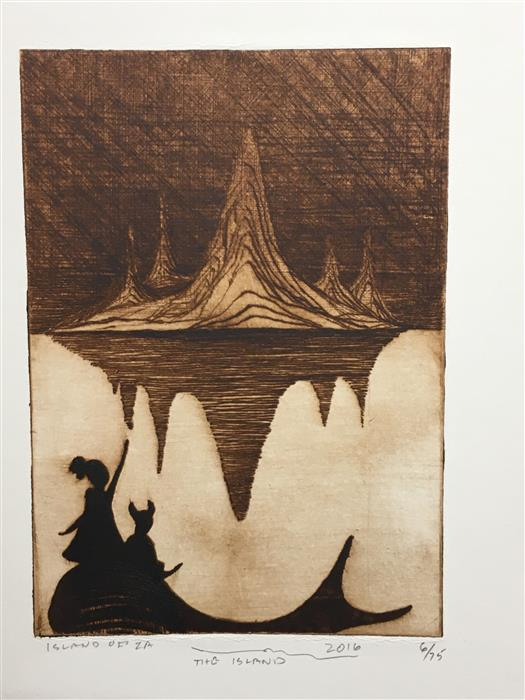 Original art for sale at UGallery.com | The Island by DOUG LAWLER | $400 |  | 10' h x 8' w | ..\art\printmaking-The-Island