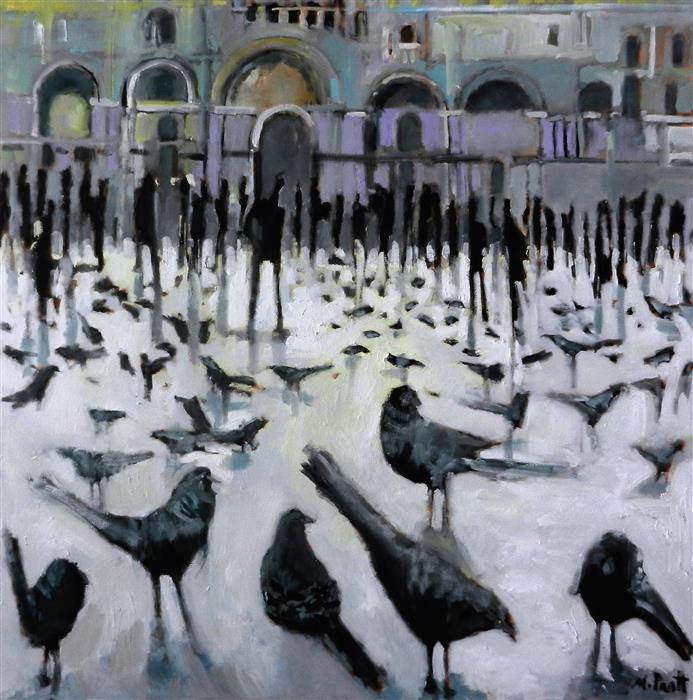 Original art for sale at UGallery.com | City Birds by MARY PRATT | $4,275 |  | 48' h x 48' w | ..\art\oil-painting-City-Birds