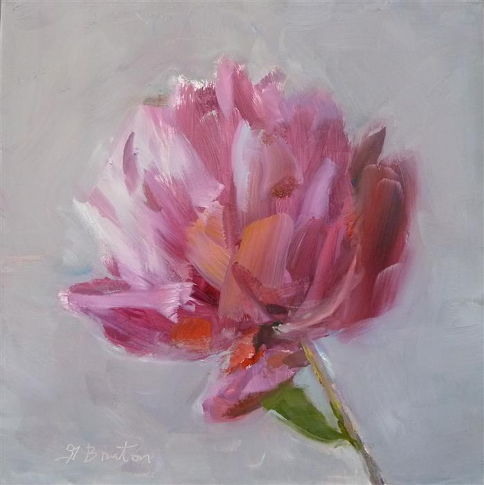 Original art for sale at UGallery.com | Red Peony by GARY BRUTON | $475 |  | 8' h x 9' w | ..\art\oil-painting-Red-Peony