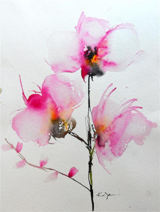 Original art for sale at UGallery.com | Orchids IV by KARIN JOHANNESSON | $450 |  | 14' h x 11' w | ..\art\watercolor-painting-Orchids-IV