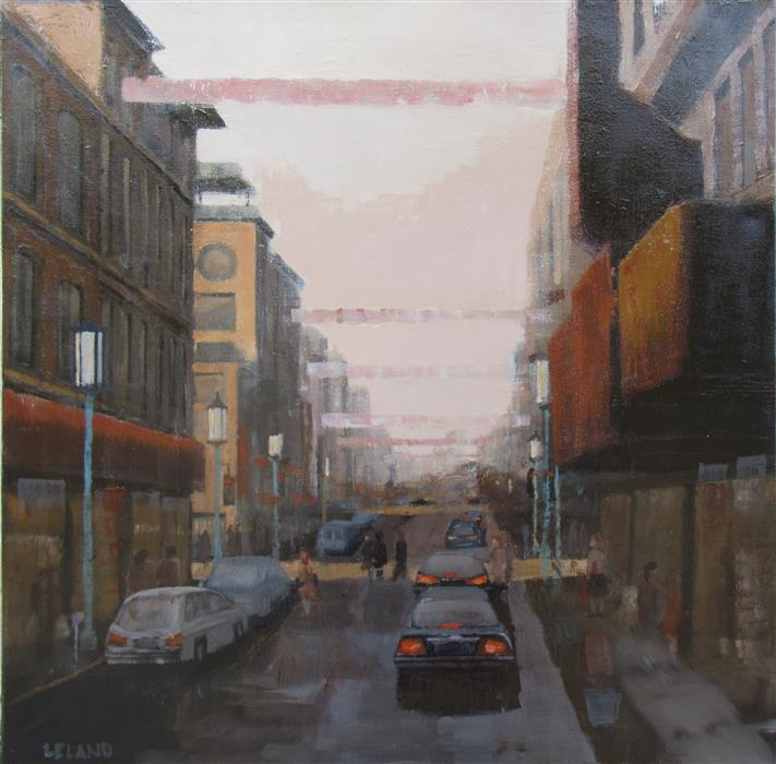 Original art for sale at UGallery.com | Chinatown by JIM LELAND | $950 |  | 24' h x 24' w | ..\art\oil-painting-Chinatown-55779