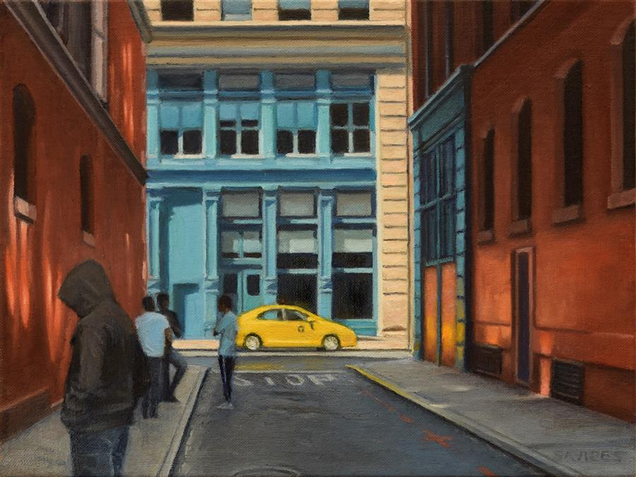 Original art for sale at UGallery.com | On Jersey Street by Nick Savides | $875 | oil painting | 9' h x 12' w | ..\art\oil-painting-On-Jersey-Street