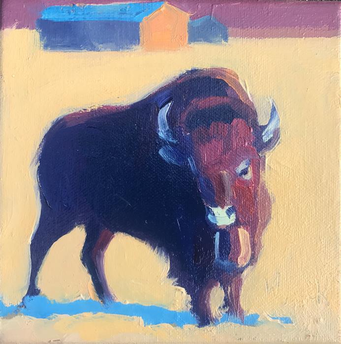Original art for sale at UGallery.com | Winter Bull with Out Buildings by STEPHEN WYSOCKI | $275 |  | 6' h x 6' w | ..\art\oil-painting-Winter-Bull-with-Out-Buildings
