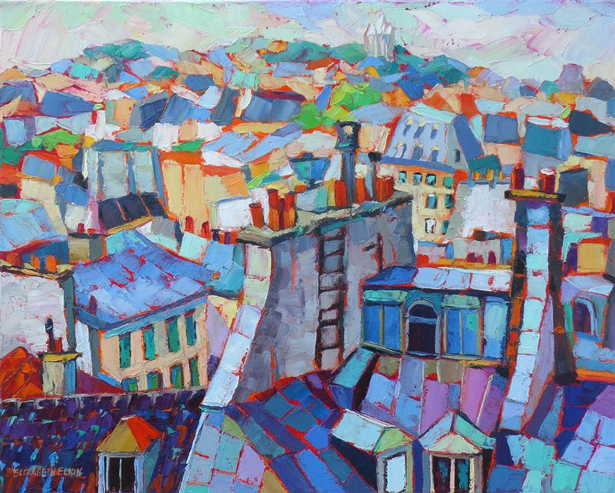 Original art for sale at UGallery.com | Paris Roofs by ELIZABETH ELKIN | $1,075 |  | 16' h x 20' w | ..\art\oil-painting-Paris-Roofs