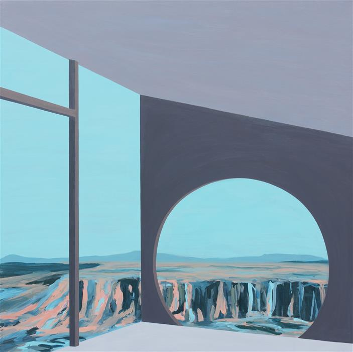 Original art for sale at UGallery.com | Arcosanti II (Architected Landscape 27) by JESSICA ECKER | $2,550 |  | 36' h x 36' w | ..\art\acrylic-painting-Arcosanti-II-Architected-Landscape-27